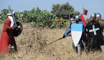 A modern-day recreation of the Battle of Hattin from 1187.