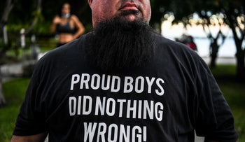 A supporter of U.S. President Donald Trump wearing a Proud Boys shirt prior to a town hall event in Miami, October 15, 2020.