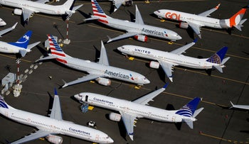 Grounded Boeing 737 MAX aircraft are seen parked in an aerial photo at Boeing Field in Seattle, Washington, U.S., July 1, 2019.