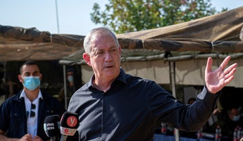 Alternate Prime Minister and Defense Minister Benny Gantz tours a military exercise in the north, October 27, 2020.