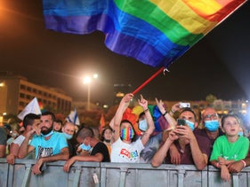 Participants at a pride rally in Tel Aviv's Rabin Square, June 28, 2020.