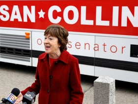 U.S. Senator Susan Collins speaking to reporters outside Kittery Trading Post in Kittery, Maine, October 27, 2020.