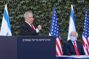 Netanyahu and Friedman attending the ceremony at Ariel University, West Bank, October 28, 2020.