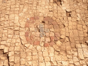 The mosaic floor of the newly discovered Byzantine church in the Banias.