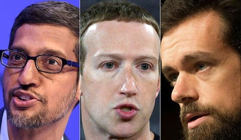 This combination of file photos created on October 1, 2020 shows Alphabet CEO Sundar Pichai during a session at the World Economic Forum (WEF) annual meeting in Davos, on January 22, 2020, Facebook founder Mark Zuckerberg  at Georgetown University in Washington, DC on October 17, 2019, and CEO of Twitter Jack Dorsey