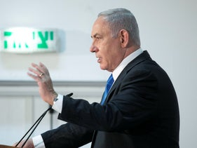 Benjamin Netanyahu speaks at a Home Front Command military base, September 2020.