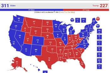 RealClearPolitic's 2020 electoral map if today's current polling averages were the outcome of the election