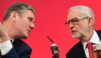 The U.K. Labour Party's then-leader, Jeremy Corbyn, right, speaking with Keir Starmer at a press conference in London, December 6, 2019.