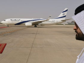 Emirati official near the the first-ever commercial flight from Israel to the UAE, by El Al, on August 31, 2020