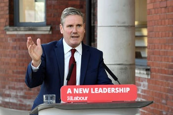 File photo: Britain's Labour leader Keir Starmer delivers his keynote speech, during the party's online conference from the Danum Gallery, Library and Museum in Doncaster, England, September 22, 2020.