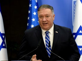 Mike Pompeo speaks during a joint press conference with Benjamin Netanyahu after a meeting in Jerusalem, August 24, 2020.