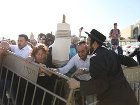 A clash at the Western Wall between Reform and ultra-Orthodox Jews, November 16, 2017.