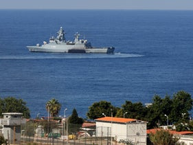 A United Nations ship is pictured in the southernmost area of Naqura, by the border with Israel, on October 14, 2020.