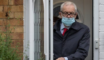 Corbyn leaves his home in North London ahead of the release of an anti-Semitism report, October 29, 2020.