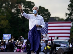Joe Biden at an election rally in Atlanta, October 27, 2020.