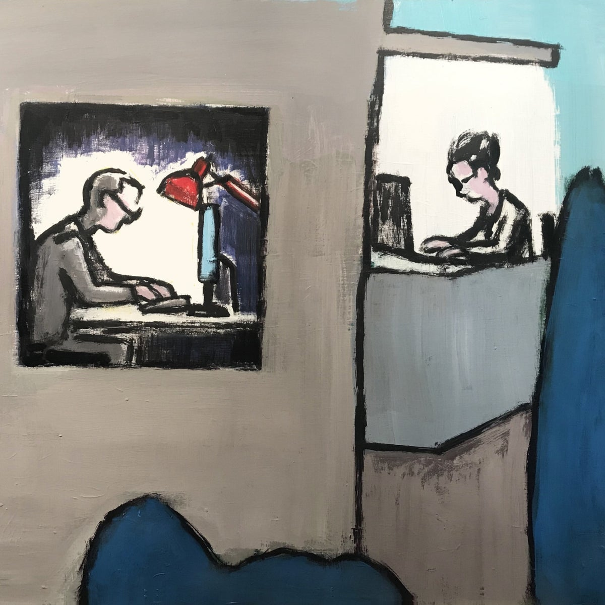 An illustration of three men at their computers.