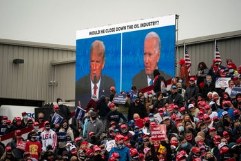 A Trump rally showing images of both Donald Trump and Joe Biden, late October 2020.