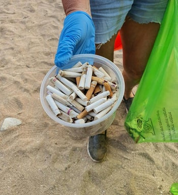 Waste collected at a beach in Nahariya in northern Israel, October 30, 2020.