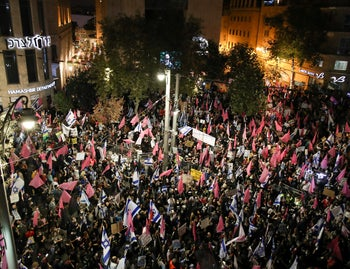 Anti-government protesters in Jerusalem's Zion Square, October 31, 2020.