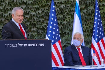 US ambassador to Israel David Friedman and Israeli PM Benjamin Netanyahu  extend a Israeli-US scientific cooperation agreement to include Israeli institutions in the occupied West Bank. Oct 29, 2020