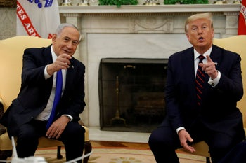 Israel's Prime Minister Benjamin Netanyahu meets with U.S. President Donald Trump in the Oval Office prior to signing the Abraham Accords. Sep 15, 2020