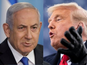 Israeli Prime Minister Benjamin Netanyahu announces a peace between Israel and the UAE. Jerusalem, August 13, 2020; President Donald Trump speaks at a campaign rally at Reading Regional Airport, Pennsylvania. October 31, 2020