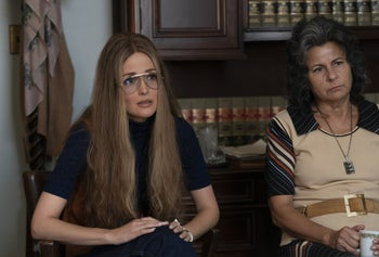 "Rose Byrne and Tracey Ullman as Gloria Steinem and Betty Friedan in ""Mrs. America."""