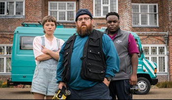 "Emma D'Arcy, Nick Frost and Samson Kayo in Amazon Prime's ""Truth Seekers."""