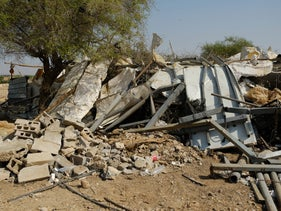 The ruins of a demolished home in Fasayil, the West Bank.