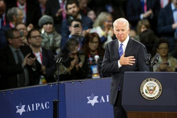 Vice President Joe Biden places his hand over his heart after addressing the American Israel Public Affairs Committee (AIPAC) Policy Conference in Washington. March 20, 2016