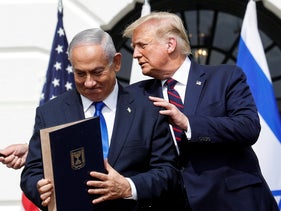 Israel's Prime Minister Benjamin Netanyahu with U.S. President Donald Trump after signing a normalization agreement between Israel and some of its Middle East neighbors, Washington D.C., September 15, 2020.