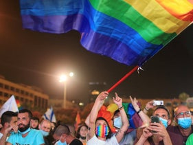People at a rally for LGBTQ rights in Tel Aviv, June 2020.