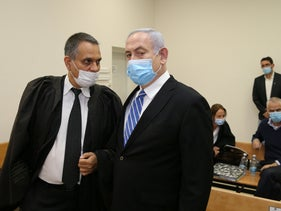 Benjamin Netanyahu during the opening of his trial at the Jerusalem District Court, May 24, 2020.