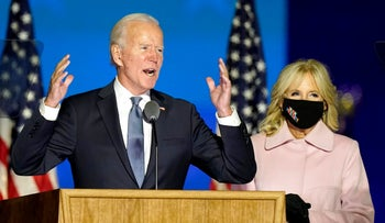 Democratic presidential candidate former Vice President Joe Biden and his wife Jill speak to supporters in Wilmington, Delaware, November 4, 2020.