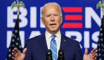 Joe Biden speaks about the 2020 U.S. presidential election results during an appearance in Wilmington, Delaware, U.S., November 4, 2020.