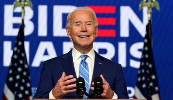 Democratic U.S. presidential candidate former Vice President Joe Biden speaks in Wilmington, Delaware, November 4, 2020.