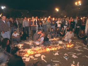 Israelis placing candles at Tel Aviv's Rabin Square, 1995