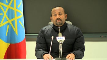 Ethiopian Prime Minister Abiy Ahmed in a televised speech ordering a military response to a deadly attack by the ruling party of Tigray, November 4, 2020.