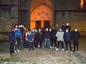 A group of Muslim volunteers protecting the Saint-Fulcran cathedral In Lodeve, southern France, October 29, 2020.