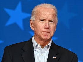 Democratic presidential candidate Joe Biden speaking at the Queen venue in Wilmington, Delaware, November 5, 2020.
