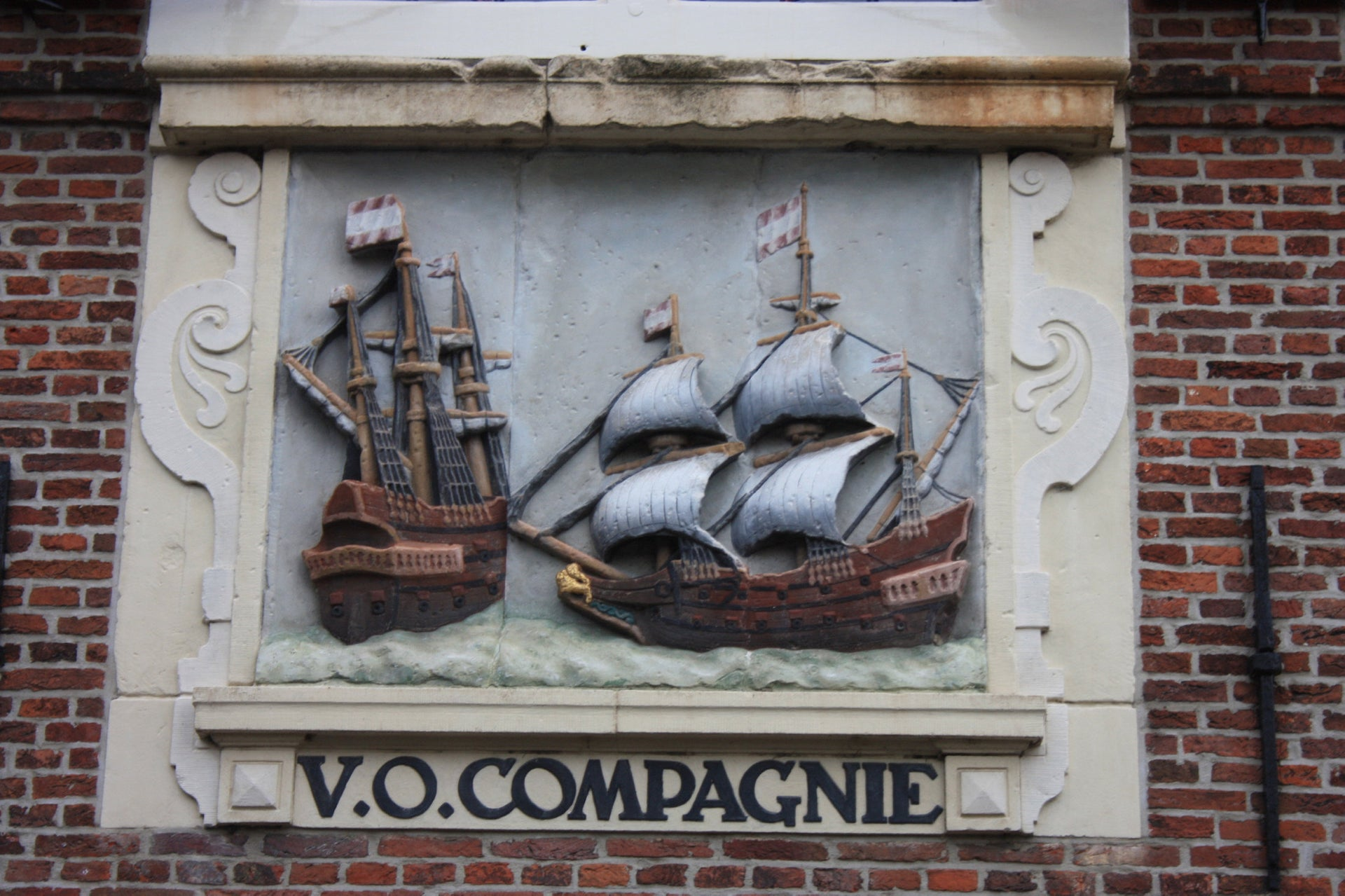 A 17th-century plaque honoring the Dutch East India Company, in the port city of Hoorn, the Netherlands. For a time, it was the world's largest commercial enterprise, but a murderous one.
