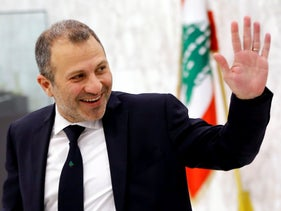 Christian leader Gebran Bassil arrives to attend a meeting of the Lebanese cabinet at the Presidential Palace in Baabda, Lebanon, February 2, 2019.