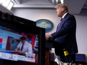 Donald Trump speaks in the Brady Briefing Room at the White House in Washington, D.C. on November 5, 2020.