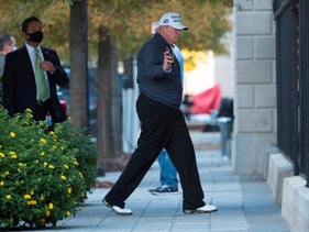 U.S. President Donald Trump returns to the White House from playing golf in Washington, DC on November 7, 2020.