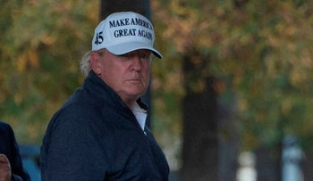 President Donald Trump returns to the White House from playing golf in Washington, DC on November 7, 2020