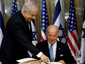 President-elect Joe Biden and Prime Minister Benjamin Netanyahu at the PM's official residence in Jerusalem, March 9, 2010.