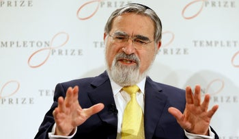 Rabbi Lord Jonathan Sacks speaks at a press conference announcing his winning of the 2016 Templeton Prize, in London. March 2, 2016