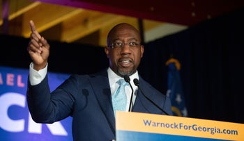 Democratic U.S. Senate candidate Rev. Raphael Warnock speaking during an Election Night event on November 3, 2020, in Atlanta.
