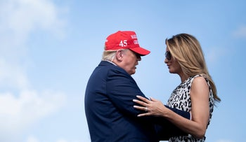 """President Donald Trump and First Lady Melania Trump during a """"Make America Great Again"""" rally in Tampa, Florida, October 29, 2020"""