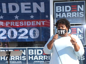 Stacey Abrams, former Georgia governor candidate, visits with voters as she campaigns for Joe Biden in Daytona Beach, October 28, 2020.